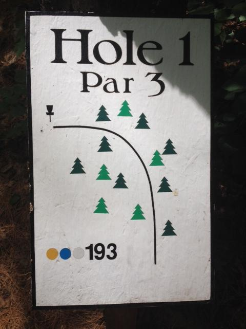 The first hole's sign.