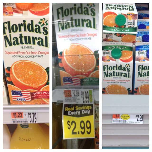 Shaw's orange juice; Hannaford orange juice; Market Basket orange juice