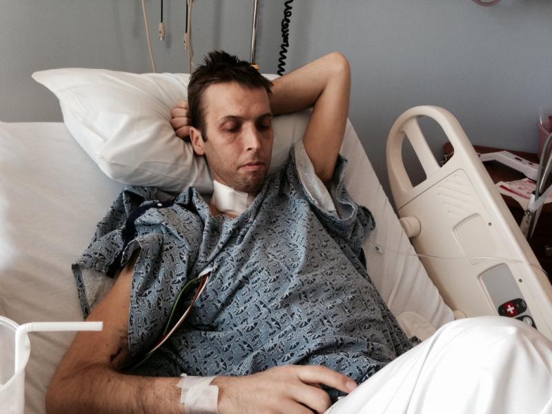Derek 24 hours after his 2nd transplant.