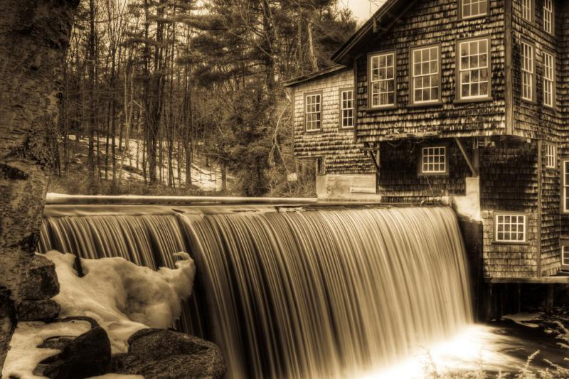 An old mill in the woods of Davisville, NH