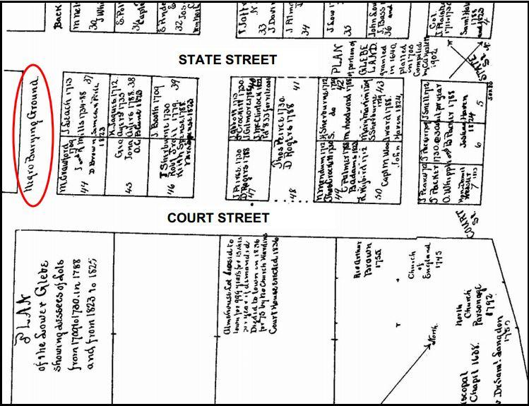 "A map dating back to 1902 includes a ""Negro Burying Ground"" at the site of the future memorial."