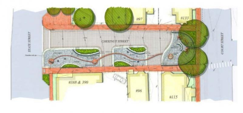 Rendering of Chestnut St. with African Burying Ground memorial park.