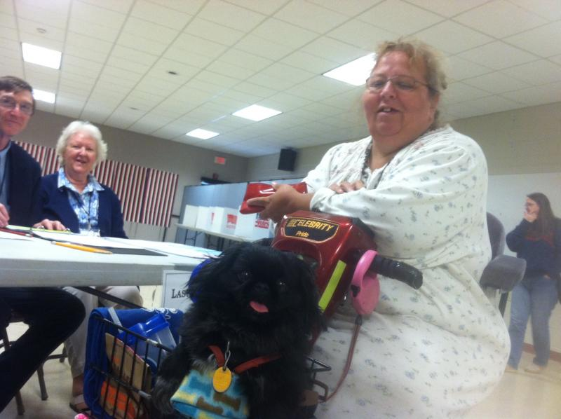 Sheila Coulter votes at Concord Ward 4 with Noah, her three year-old Pekingese