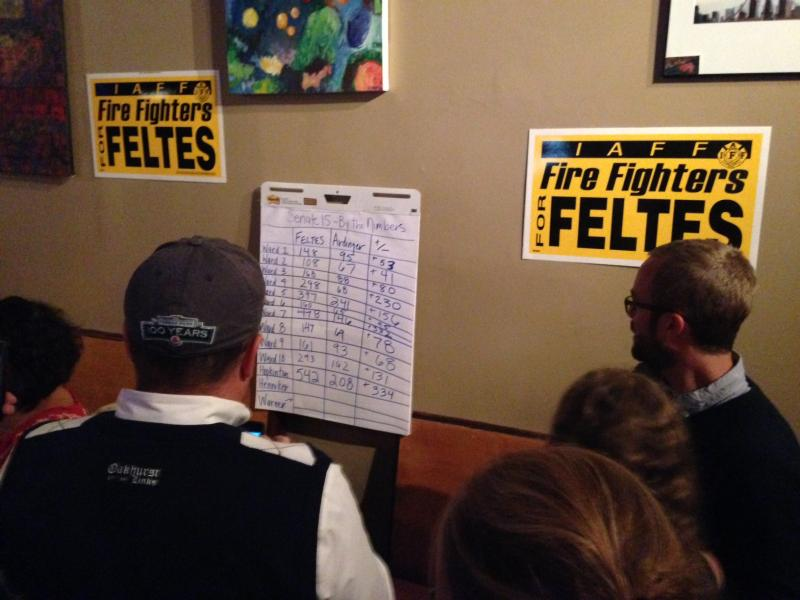Feltes supporters look at the tally sheet for District 15. Loyalists say he's winning big.