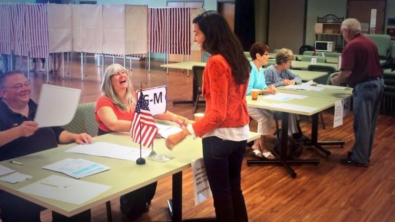GOP congressional candidate Marilinda Garcia casts her vote in Salem