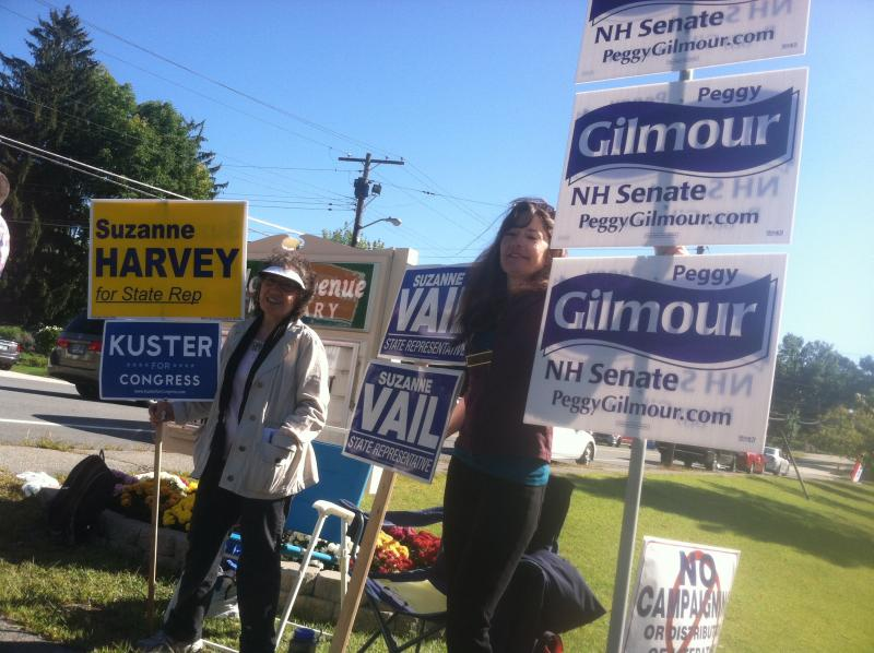 State Reps Suzanne Harvey (left) and Suzanne Vail (right) outside Charlotte Avenue School in Nashua