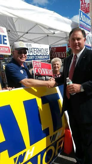 1st CD Congressional Candidate Frank Guinta greets voters in Londonderry