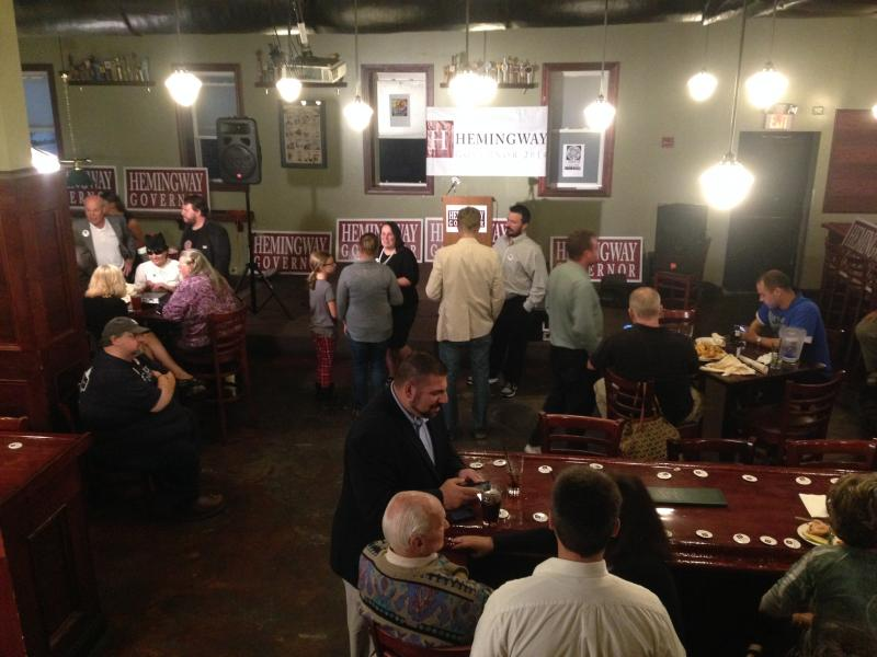 Supporters mill about Hemingway HQ at Murphy's Taproom in Manchester
