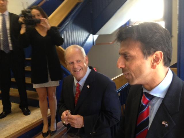 Louisiana Gov. Bobby Jindal (right) on the stump with Walt Havenstein