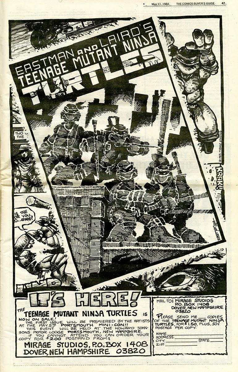 Eastman and Laird took out a full page ad in the Comics Buyer's Guide, issue 547 (May 11, 1984) to coincide with the Mini-Con.