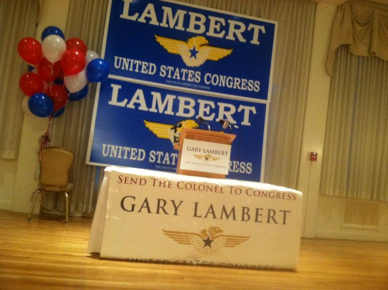 The podium is set for 2nd Congressional District candidate Gary Lambert at his headquarters at the Nashua Country Club.