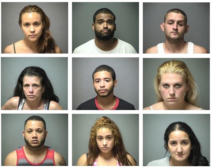 The nine individuals arrested for their alleged involvement in supplying a bulk of the black market painkillers in Manchester.