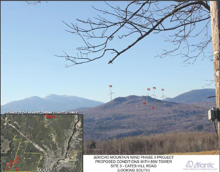 Jericho Mountain Wind Phase II Project. Proposed Conditions with 85M tower. Site 3  - Cates Hill Road