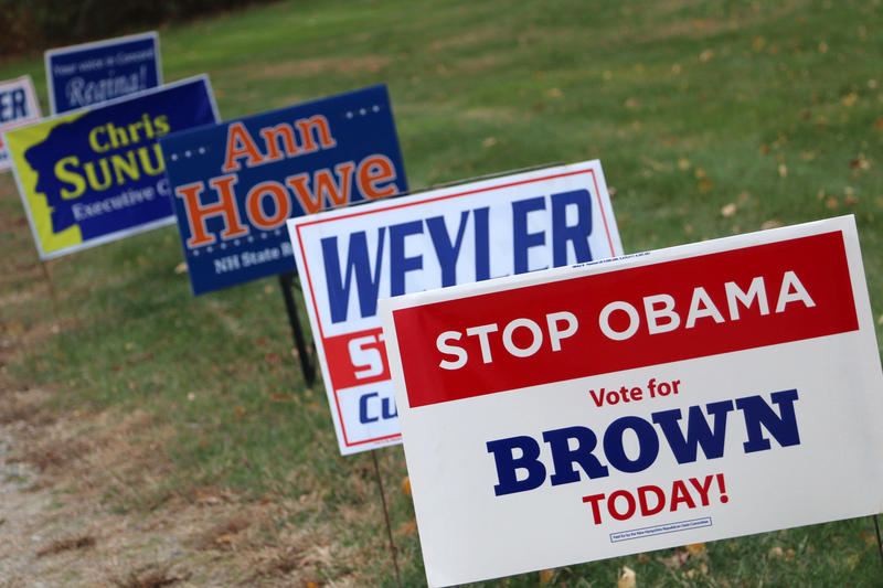 Signs on display on Election Day at Hampstead Middle School in Hampstead.