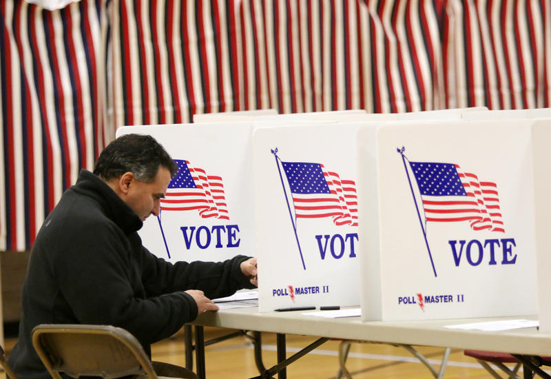 Election Day at Hollis-Brookline High School in Hollis. Bill Kotelly was voting.