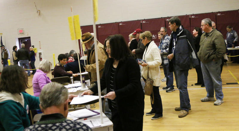 Voters lined up in Hollis, NH