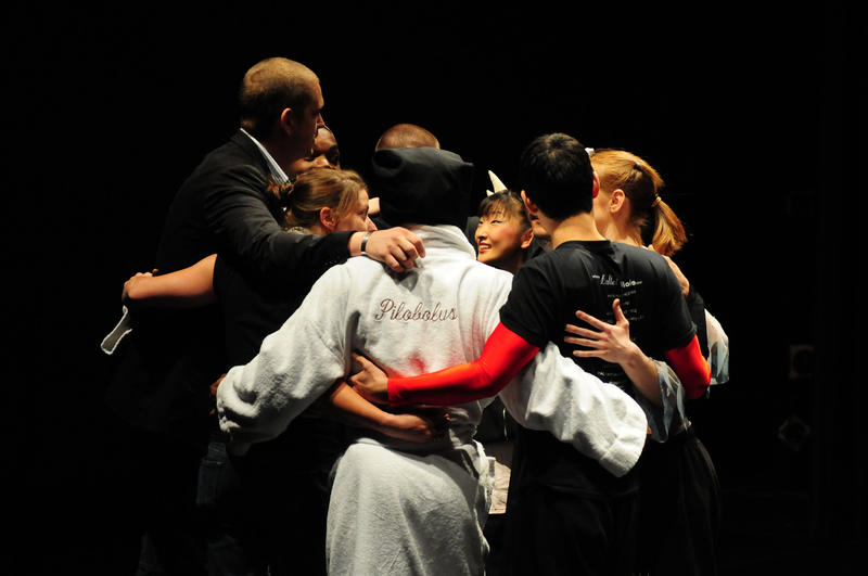 Members of Pilobolus in group hug before gtheir performane at The Music Hall in Portsmouth, Nh. May, 2010.