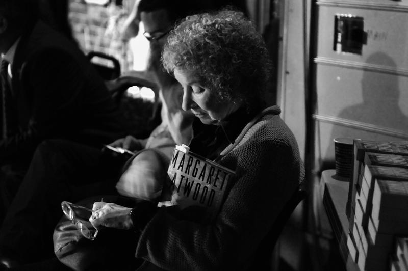 Author Margaret Atwood backstage right before speaking at a Writers On A New England Stage show at The Music Hall in Portmouth, NH.