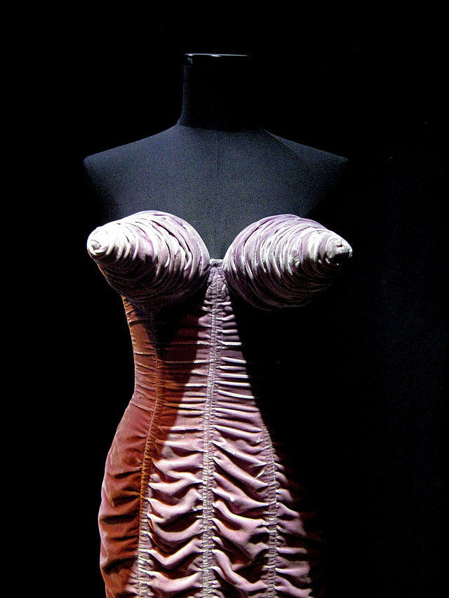 Jean-Paul Gaultier cone-breasted ruched velvet dress at Exposition in Montreal, Canada, 2011