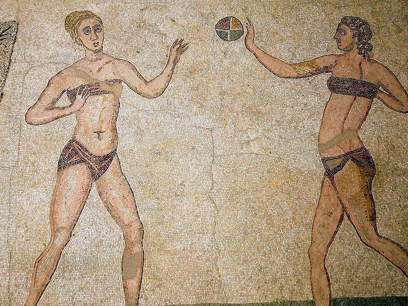 Roman mosaic depicting female athletes.