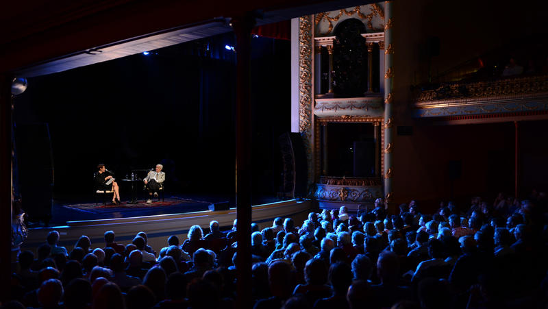 "NHPR's Virginia Prescott interviews Biologist and author Edward Osborne ""E. O."" Wilson during a Writers on a New England Stage show at The Music Hall in Portsmouth, NH."