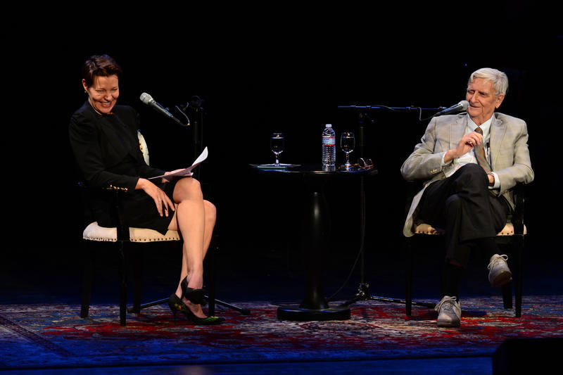 "NHPR's Virginia Prescott interviews Biologist and author Edward Osborne ""E. O."" Wilson during a Writers on a New England Stage show at The Music Hall in Portsmouth, NH"