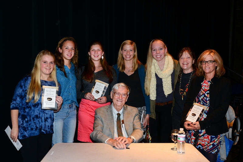 "Biologist and author Edward Osborne ""E. O."" Wilson during a backstage book signing after speaking at a Writers on a New England Stage show at The Music Hall in Portsmouth, NH"
