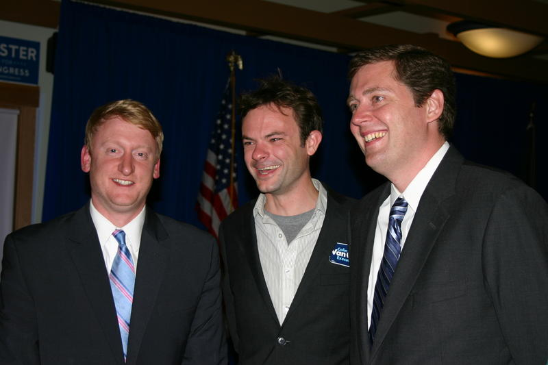 State Senate Candidate Dan Feltes, Supporter Jay Surdokowski, and N.H. Executive Councilor Colin Van Ostern