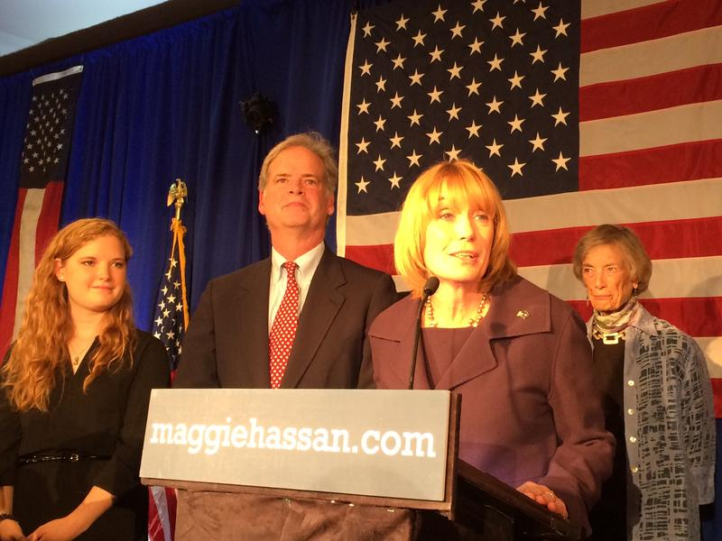 Governor Maggie Hassan gives victory speech on election night, 2014.