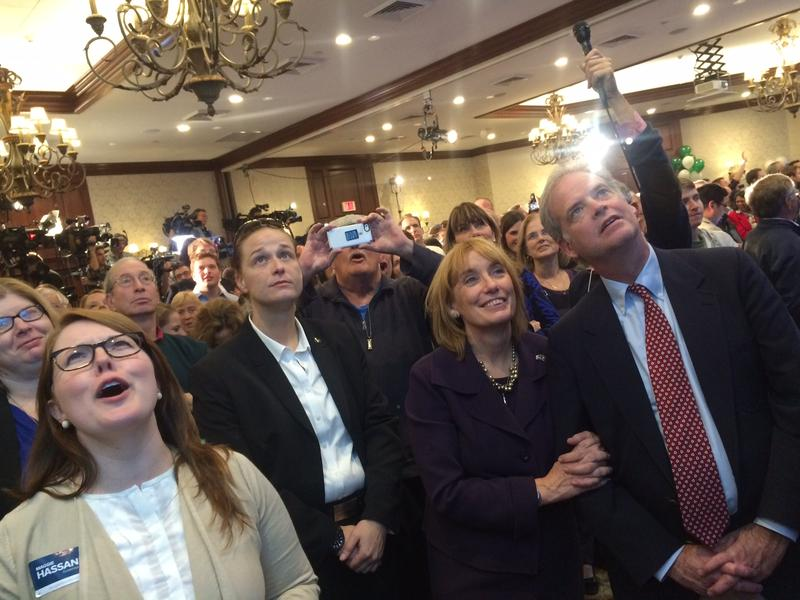 Governor Maggie Hassan and the crowd at Hassan - Shaheen campaign headquarters watch Scott Brown's concession speech.