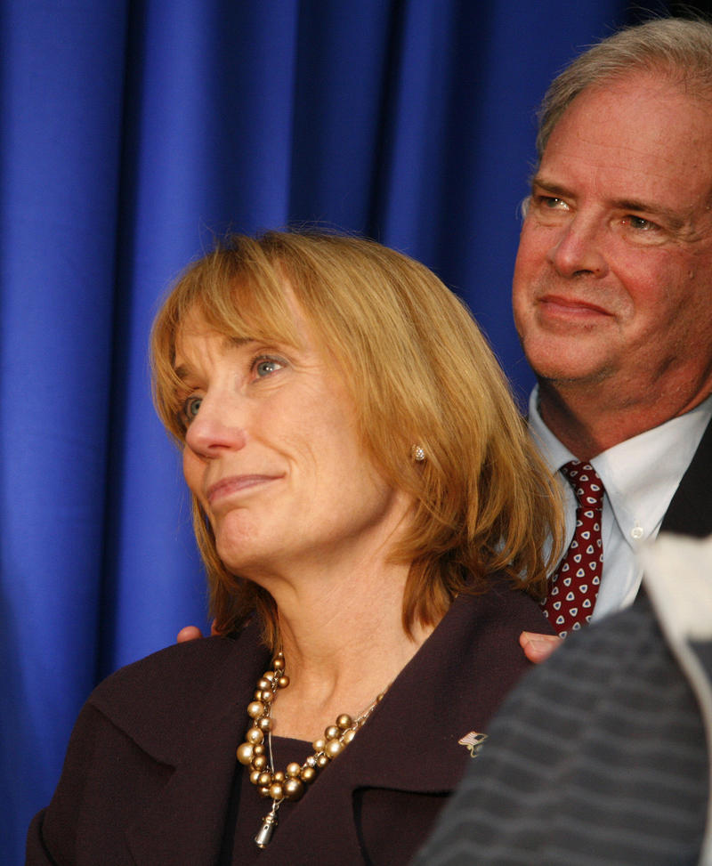 Governor Hassan looks on at Shaheen's victory speech