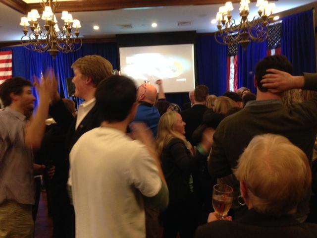 Celebration at Jeanne Shaheen's camp as the race is called for the incumbent Senator