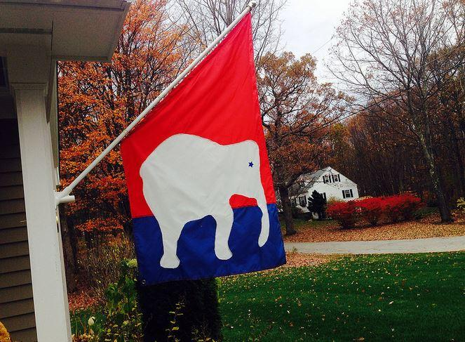 Hopkinton resident flies his GOP elephant flag on Election Day, 2014