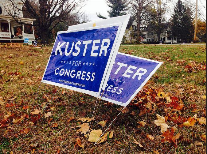 In Annie Kuster's home town of Hopkinton, her opponent Marilinda Garcia's signs were sandwiched at this intersection.