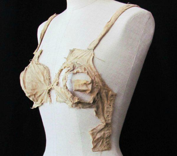 This undated picture publicly provided by the Archeological Institute of the University of Innsbruck, shows a medieval bra. The bra is commonly thought to be little more than 100 years old as corseted women abandoned rigid fashions and opted for the more