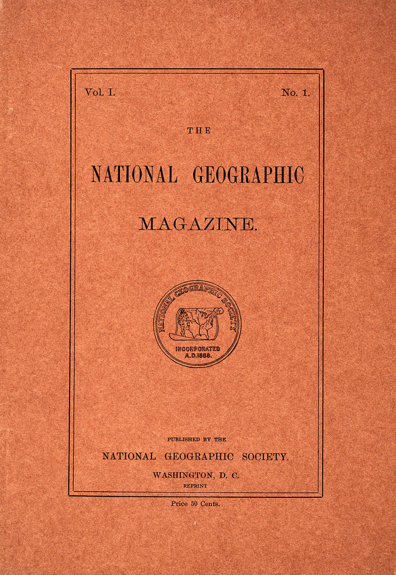 National Geographic Magazine, volume I, number 1, features the Society's first seal, a map of the United States.