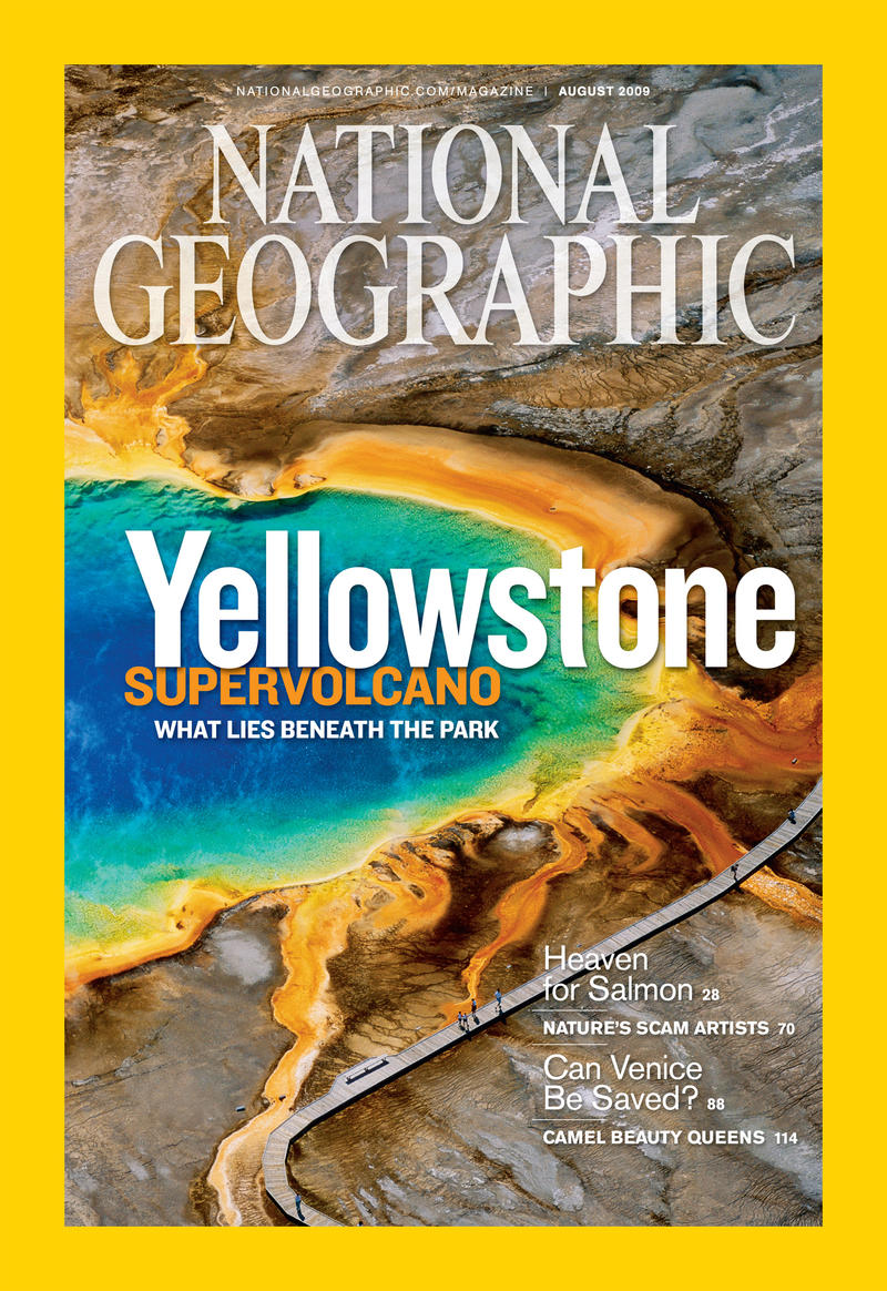 Heat-loving microorganisms add red and yellow hues to Yellowstone's Grand Prismatic Spring.