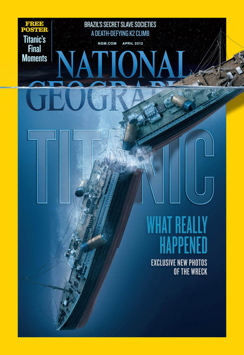 To create this image of the splitting of the Titanic's bow and stern, our artist drew upon a roundtable discussion among experts.