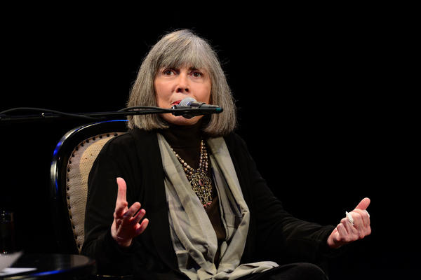 Author Anne Rice speaks during a Writers on a New England Stage show at The Music Hall in Portsmouth, NH