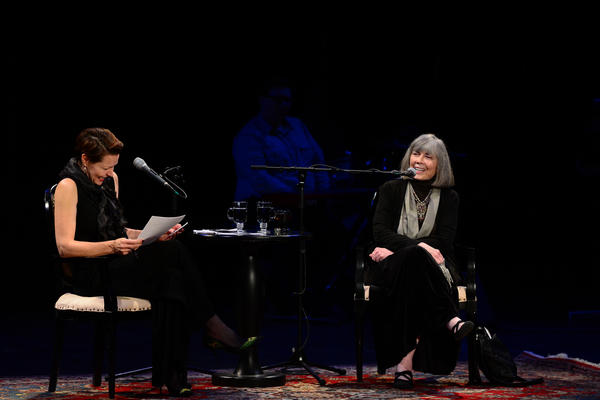 NHPR's Virginia Prescott interviews author Anne Rice during a Writers on a New England Stage show at The Music Hall in Portsmouth, NH