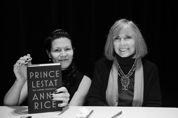 Author Anne Rice with NHPR's Virginia Prescott during a backstage book signing after a Writers on a New England Stage show at The Music Hall in Portsmouth, NH