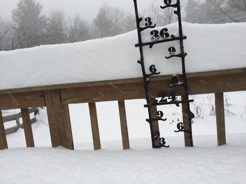 As of 9 a.m. Tuesday morning, there's already about 14 inches of snow in Derry.