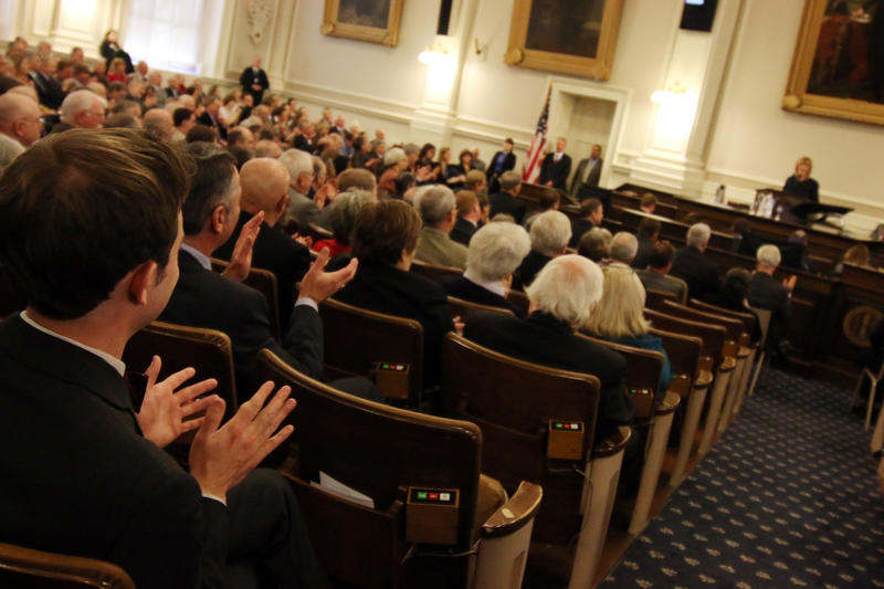 Governor Hassan speaks to legislators at her inauguration in January