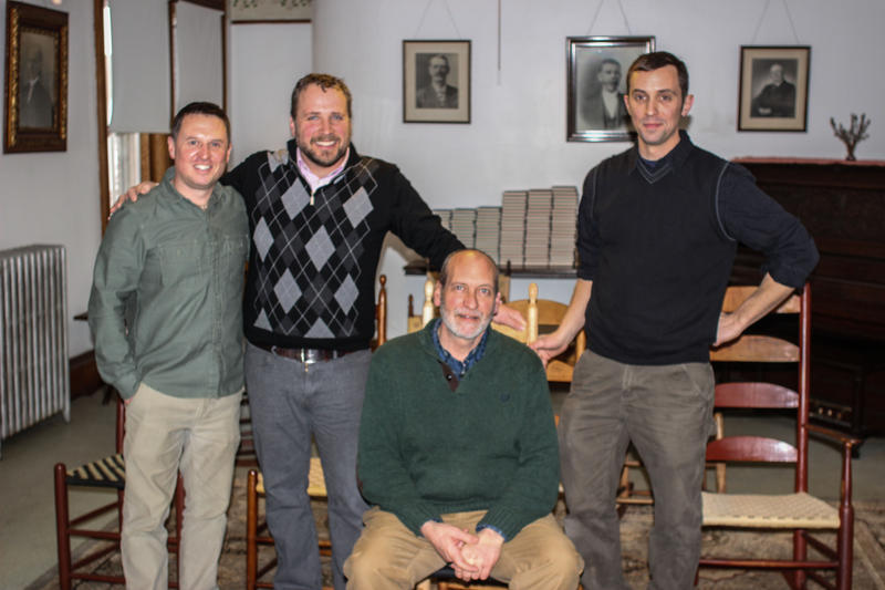 From left to right: Michael Graham, Nate Gobeil, Brother Arnold, Adam Nudd-Homeyer.