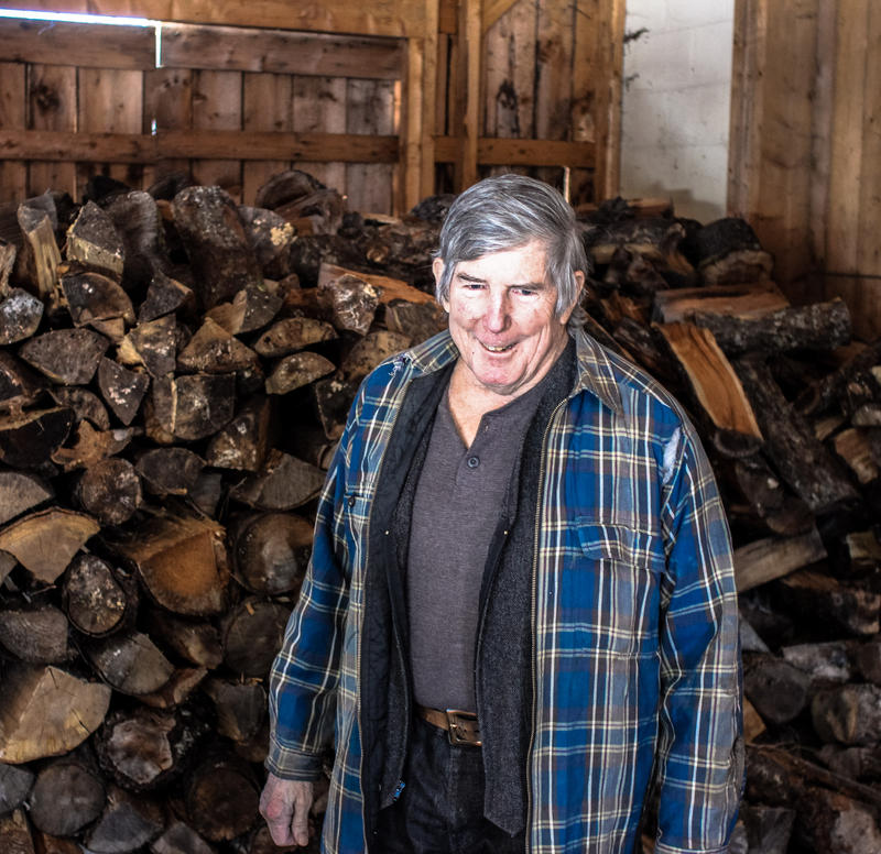 John Harrigan in the woodshed.