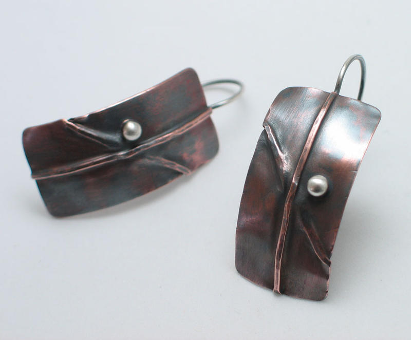 Copper earrings handmade by Jo Shields of Concord, NH
