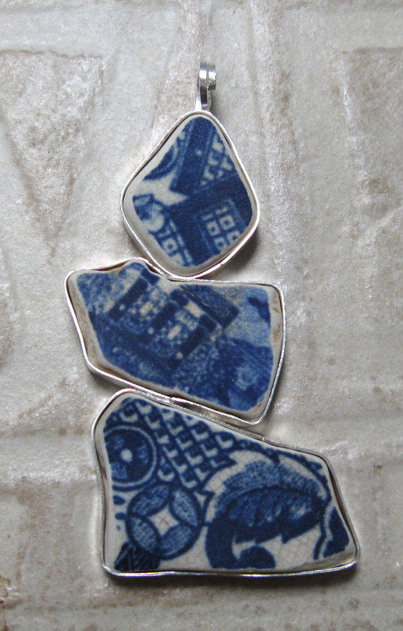 Pottery Shard Pendant by Palindrome Jewelry of Bedford