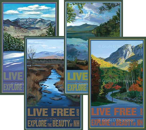 Four seasonal NH posters by Gisele Thompson