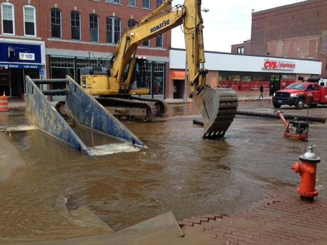 A water main break has flooded part of Main Street in Concord.