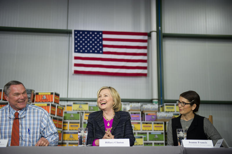 Hillary Clinton at Smuttynose Brewery in Hampton on Friday